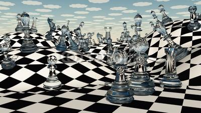 Naklejka Abstrakcyjne szachy na fali