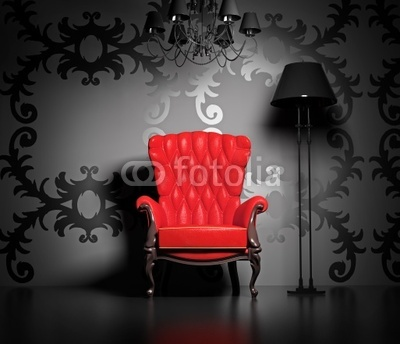 obraz na p tnie czerwony fotel 27141855 wf111 obrazy na p tnie do biura foteks. Black Bedroom Furniture Sets. Home Design Ideas