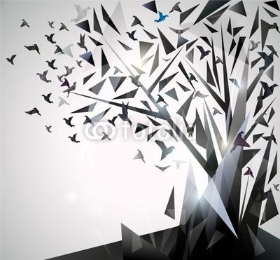 Naklejka Drzewo z trójkątów