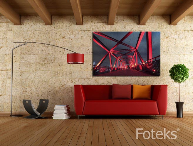 Obraz na płótnie Czerwony podświetlony most